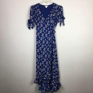 Francesca's Miami blue floral wrap maxi dress